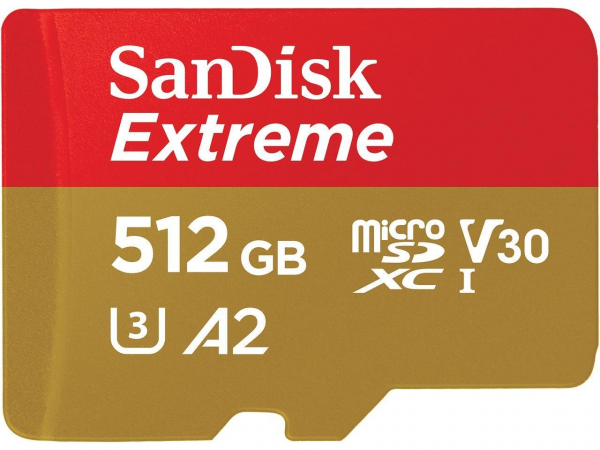 Sandisk SDsqxa1-512G-Gn6ma Micro Extreme A2 V30 Uhs-i/u3 160r/90w SDXC DiGital Media (FFCSAN512GTFQXA1)