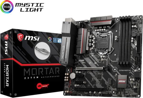 Msi M-atx Motherboard - S1151 8gen 4xddr4 2xpci-e 2xm.2 Dp/hdmi/dvi T Z370M MORTAR