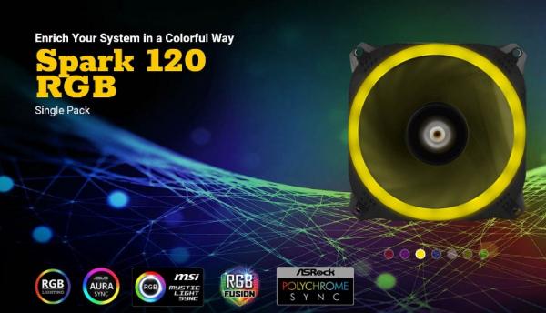 Antec Dual-ring Design Hydraulic Bearing Led Pwm Fan. 2 Years Warranty (Spark 120 RGB)