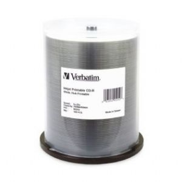 Verbatim Cd-r 700mb 100pk White Wide Inkjet 52x (95252)