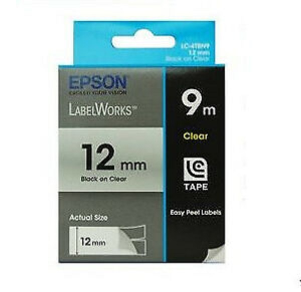Epson Tape Clear 12mm Black 9 Metres (C53S625101)