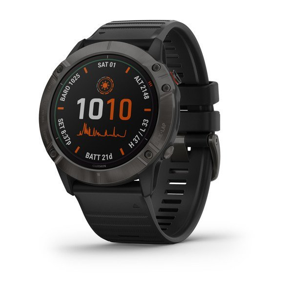Garmin Fenix 6x Pro Solar Titanium Carbon Gray Dlc With Black Band (010-02157-22)