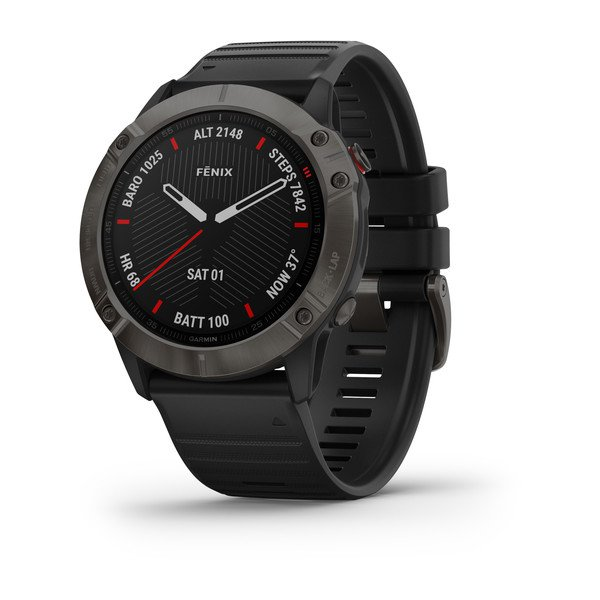 Garmin Fenix 6x Sapphire Carbon Gray Dlc With Black Band (010-02157-12)
