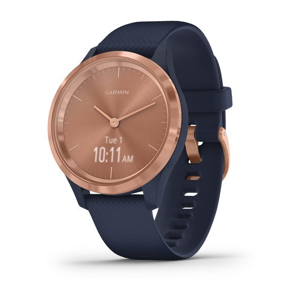Garmin Vivomove 3s Rose Gold Stainless Steel Bezel With Navy Case And Si (010-02238-03)