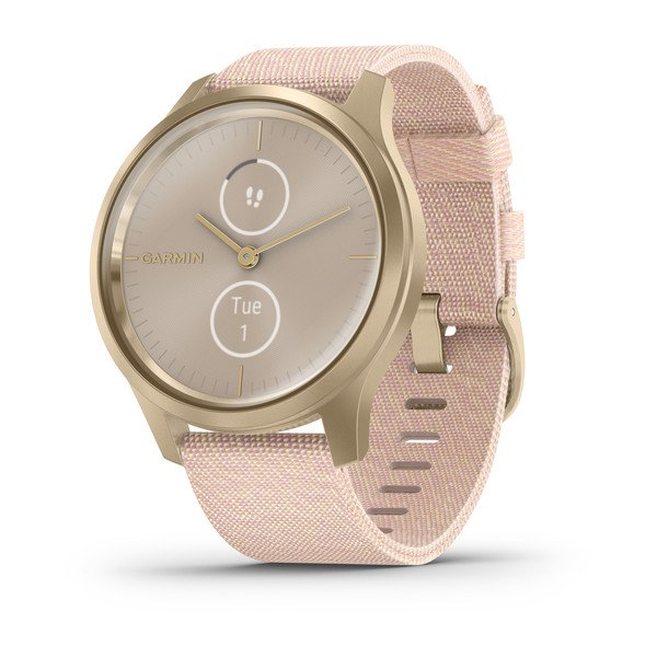Garmin Vivomove Style Light Gold Aluminum Case With Blush Pink Woven Nyl (010-02240-02)
