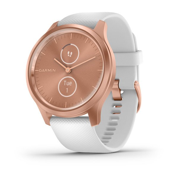 Garmin Vivomove Style Rose Gold Aluminum Case With White Silicone Band (010-02240-00)