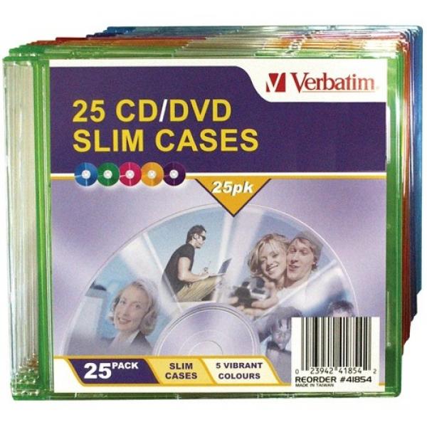 VERBATIM Cd/dcd Coloured Slim Cases 41854