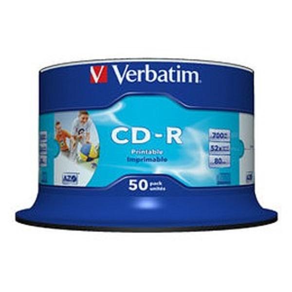 VERBATIM Cd-r 700mb 50pk White Inkjet 52x 41908