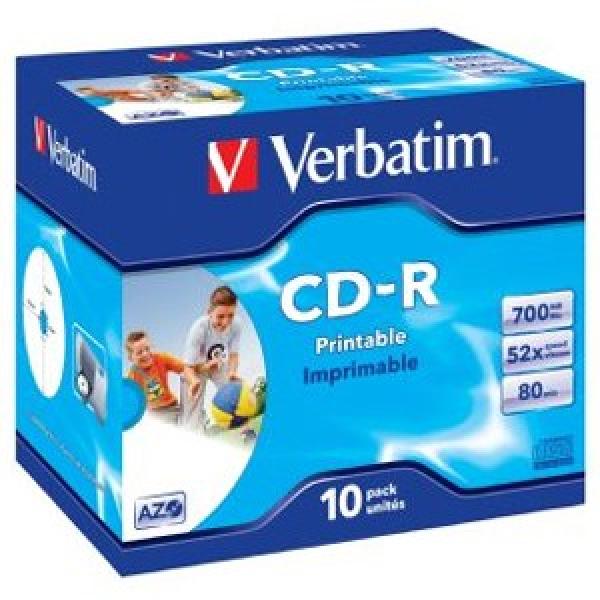 VERBATIM Cd-r 700mb 10pk Jc White Wide Inkjet 41920