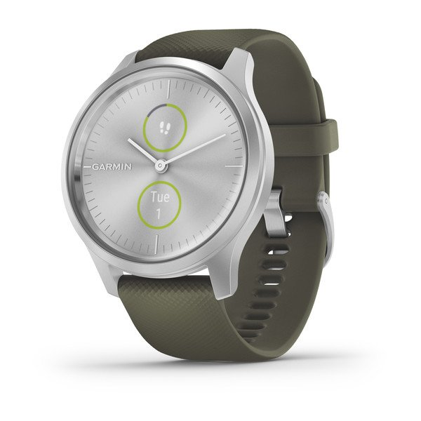Garmin Vivomove Style Silver Case Moss Green Silicone Band 010-02240-01