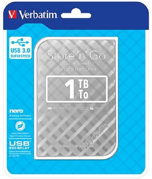 Verbatim 1TB 2.5'' USB 3.0 Hard Drive Silver External Portable (53197)
