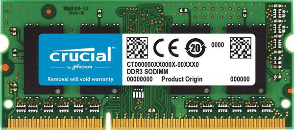 Crucial 8gb 1x8gb Ddr3 Sodimm 1600mhz 1.35/1.5v Dual Voltage Si CT102464BF160B