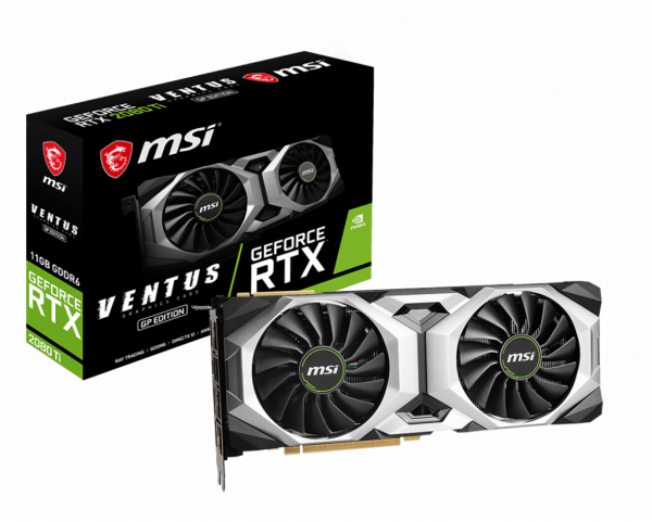 Msi Nvidia Geforce 11gb Gddr6 1545mhz Dual Fan 7680x432060hz 3xdp1.4  (RTX 2080 Ti VENTUS GP OC)