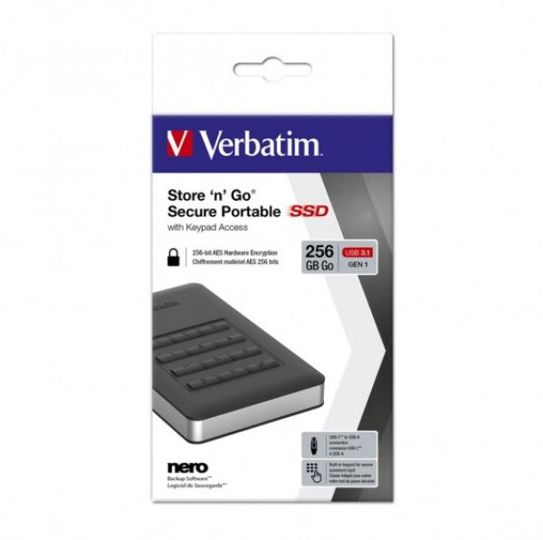 Verbatim Usb 3.1 Store'n'go Secure Ssd W/keypad Access 256gb - Black (53402)
