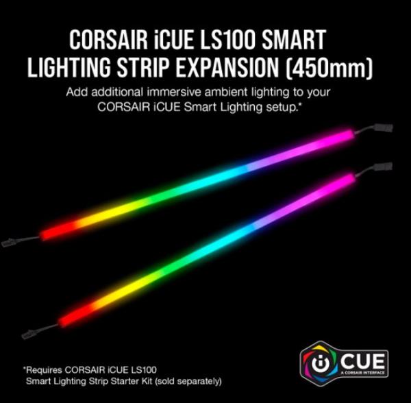 Corsair Icue Ls100 Smart Lighting Strip Expansion Kit 2x 450mm Addressabl (CD-9010001-WW/LL)