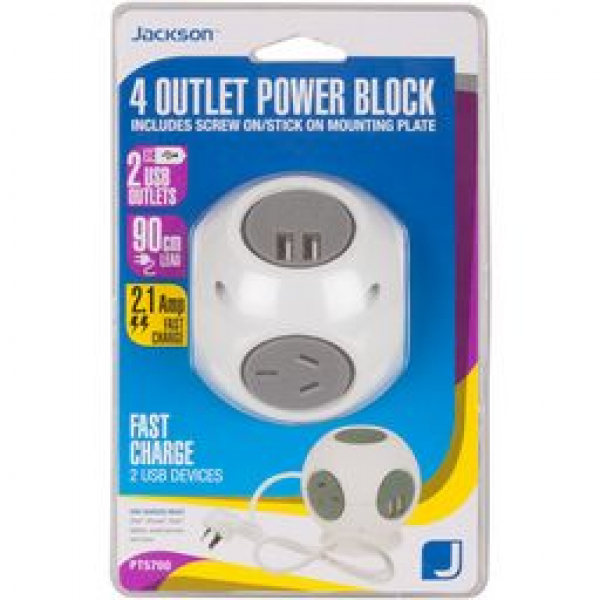 Jackson 4 Outlet Power Block With Usb 2.1a (PT5700)