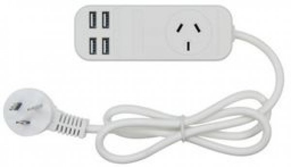 Jackson Single Outlet Portable Powerboard with 4 Usb Ports (PT3USB3A)