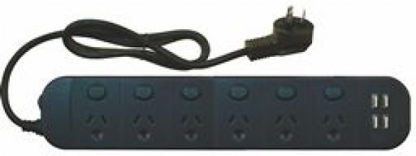 Jackson 6 way Individual Switch Powerboard  With Usb (PT1816USB3A)