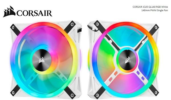 Corsair Ql140 Rgb White Icue 140mm Rgb Led Pwm Fan 26dba 50.2 Cfm Single  (CO-9050105-WW)