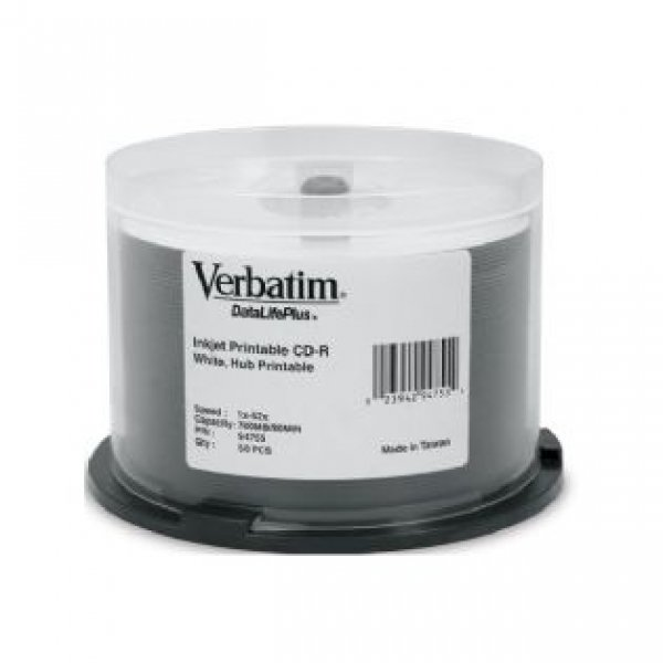 Verbatim Cd-r 700mb 50pk White Wide Inkjet 52x(ls) (94755)