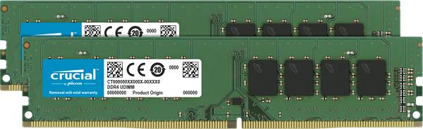 Crucial 64gb (2x32gb) Ddr4 Udimm 2666mhz Cl19 Dr X8 Dual Channel  (CT2K32G4DFD8266)