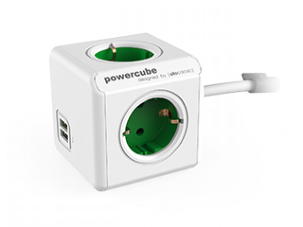 Allocacoc Powercube Extended 4 Outlets With 2 Usb 3m - Green (ls) (5404/AUEUPCGREEN)