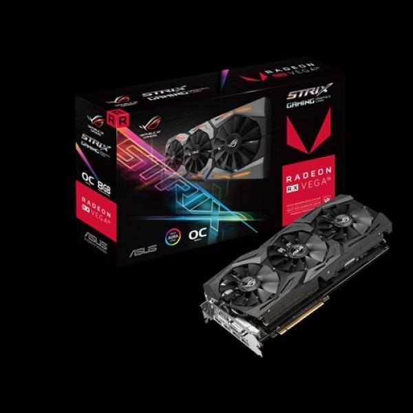 Asus Amd Radeon Ddr5 Pcie Vidro Card 7680x4320 1xdvi 2xhdmi 2xdp (ROG-STRIX-RXVEGA56-O8G-GAMING)