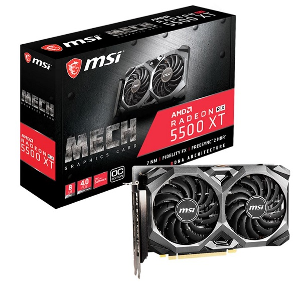 Msi Amd 8gb Gddr6 Pcie 4.0 Graphics Card 7680x4320 4xdisplays 3xdp Hd (Radeon RX 5500 XT MECH 8G OC)