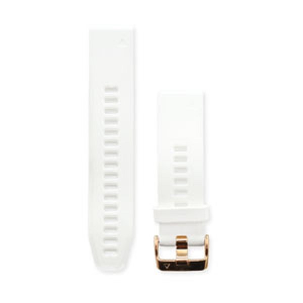 Garmin Quickfit 20 Watch Bands Carrara White Silicone With Rose Gold-ton 010-12739-08