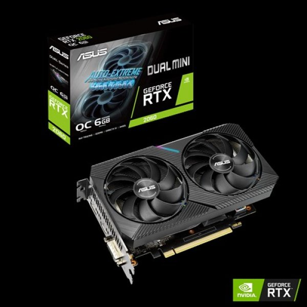Asus Nvidia Geforce Rtx 2060 Mini Oc Edition 6gb Gddr6 1755 Boost 1xdp DUAL-RTX2060-O6G-MINI
