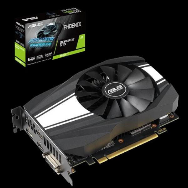 Asus Nvidia Phoenix Gtx1660ti Gddr6 6gb 1 Fan 1xdp/2xhdmi/1xdvi 18100 PH-GTX1660TI-6G