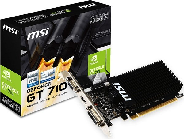 Msi Nvidia Geforce Gt 710 1gb Lp Low Profile Vga Card Gddr3 2560x1600 GT 710 1GD3H LP