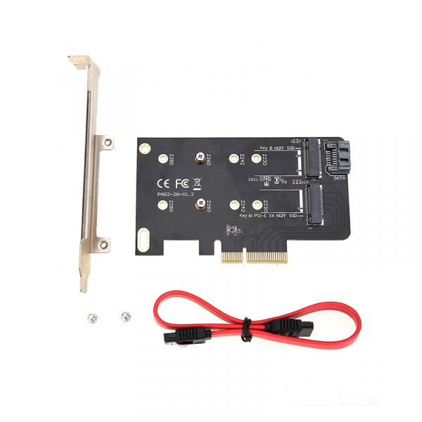 Simplecom Dual M.2 (b Key And M Key) To Pci-e X4 And Sata 6g Expansion Card EC412