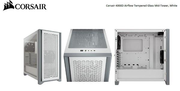 Corsair Carbide Series 4000d Airflow Atx Tempered Glass White 2x 120mm Fa CC-9011201-WW