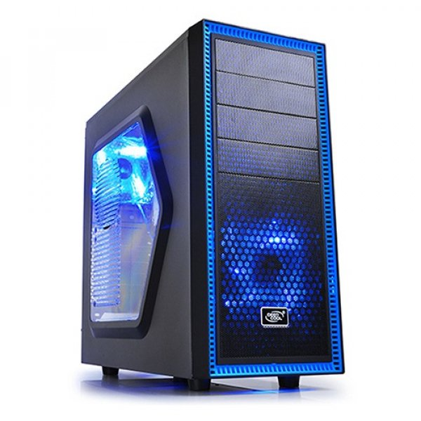 Deepcool Tesseract Sw Mid Tower Case Side Window Includes 2 Blue  DP-CCATX-TSRBKBL