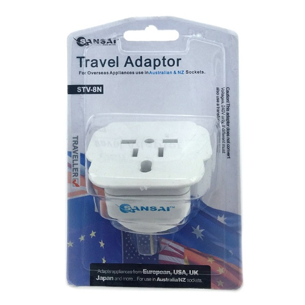 Generic Sansai Travel Adaptor For 240v Equipment From Britain Usa Europe  STV-8N