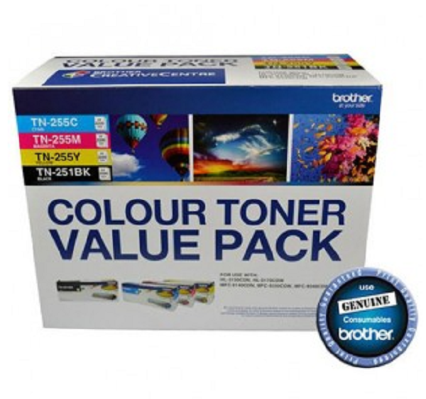 Brother Tn-251bk & Tn-255 Colour Toner Value Pack V2(n8ae00003) TN-251BK-TN-255CMY-4PK