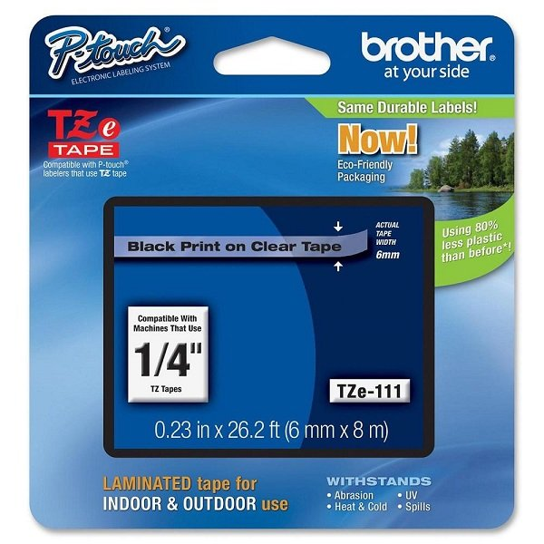 Brother 6mm Black On Clear Tz Tape TZE111