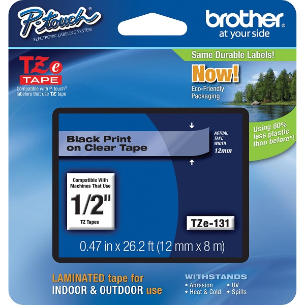 Brother Tz131 P-touch Tape 1/2 In X 26 Ft Black On Clear TZE-131