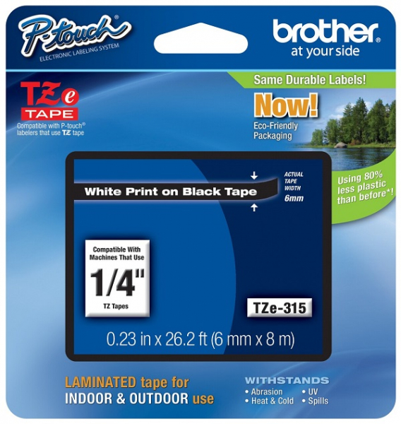 Brother 6mm White On Black Tz Tape TZE-315