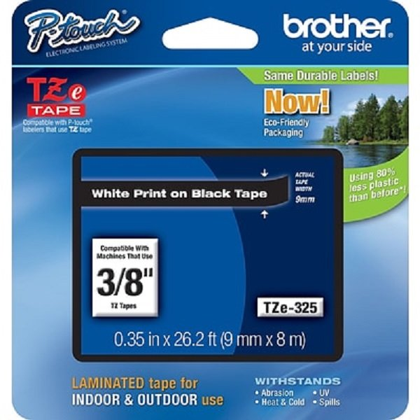 Brother 9mm White On Black Tz Tape TZE-325
