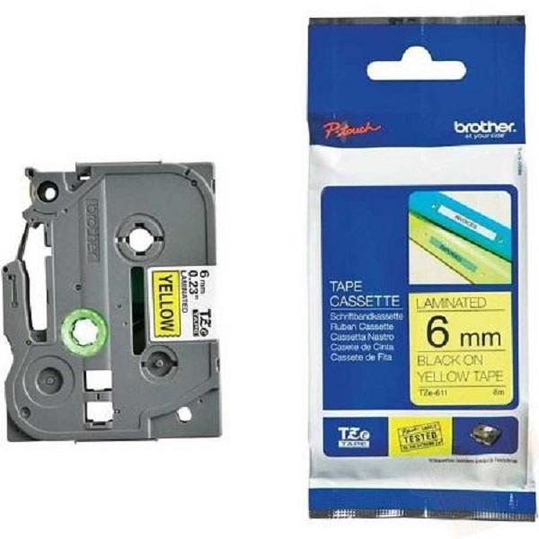 Brother 6mm Black On Yellow Tz Tape TZE-611