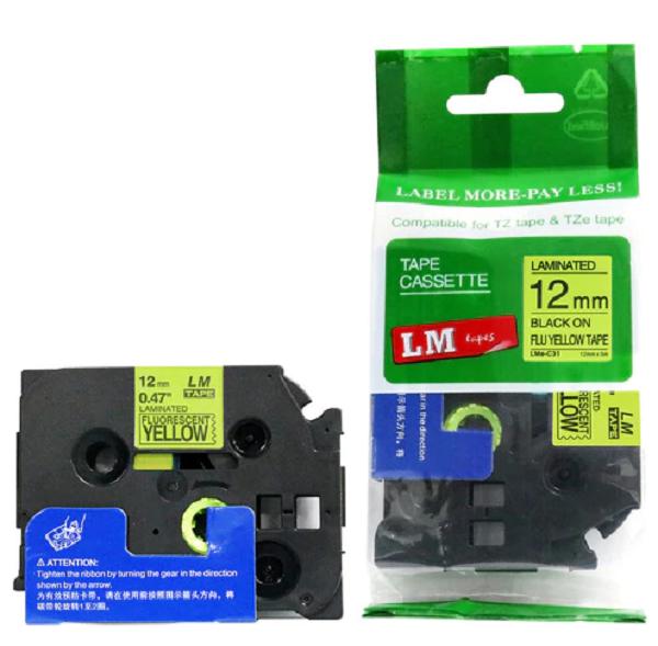 Brother 12mm Black On Fluoro Yellow Tz Tape TZE-C31