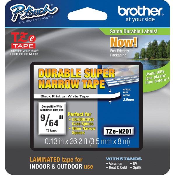 Brother 3.5mm Black On White Non Laminated Tz Tape TZE-N201