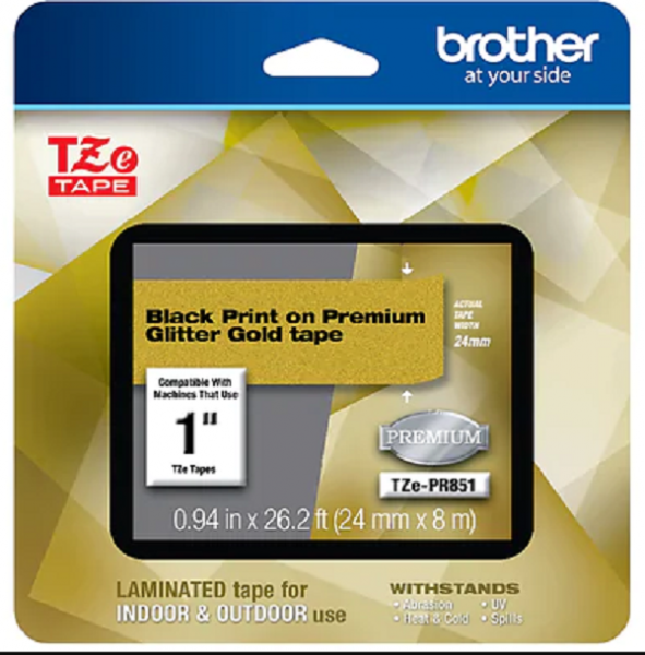 Brother Tze Tapes-24mm Black On Premium Gold TZE-PR851