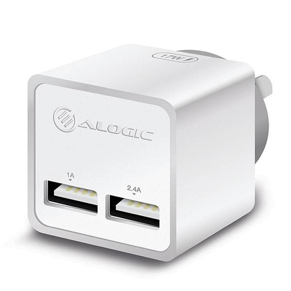 Alogic 2 Port Usb Mini Wall Charger 2.4a + 1a 17w White WC2A17MWH