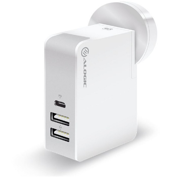 Alogic 3 Port Usb-c & Usb-a 45w Travel Charger With Multi Country Plugs  WCC2A45WH