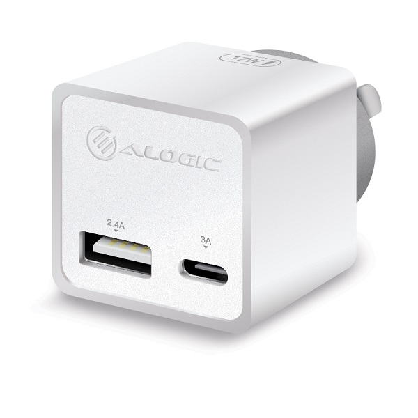 Alogic 2 Port Combo Usb-c & Usb-a Mini Wall Charger 3a + 2.4a 17w  WCCA17MWH