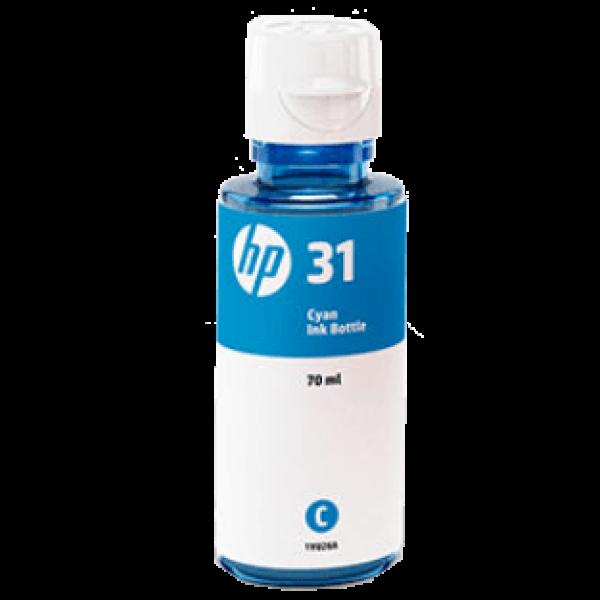 HP 31 70ml 8000 Pages Cyan Ink Bottle For Hp Smart Tank 455 1VU26AA