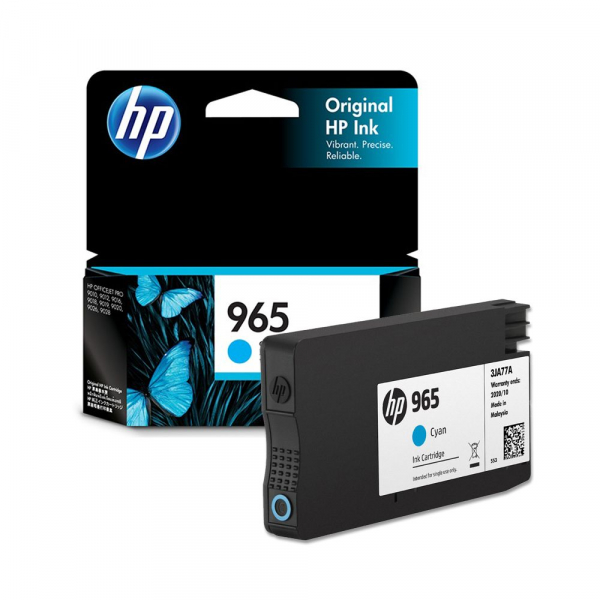 HP 965 Cyan Original Ink Cartridge 700 Pages 3JA77AA